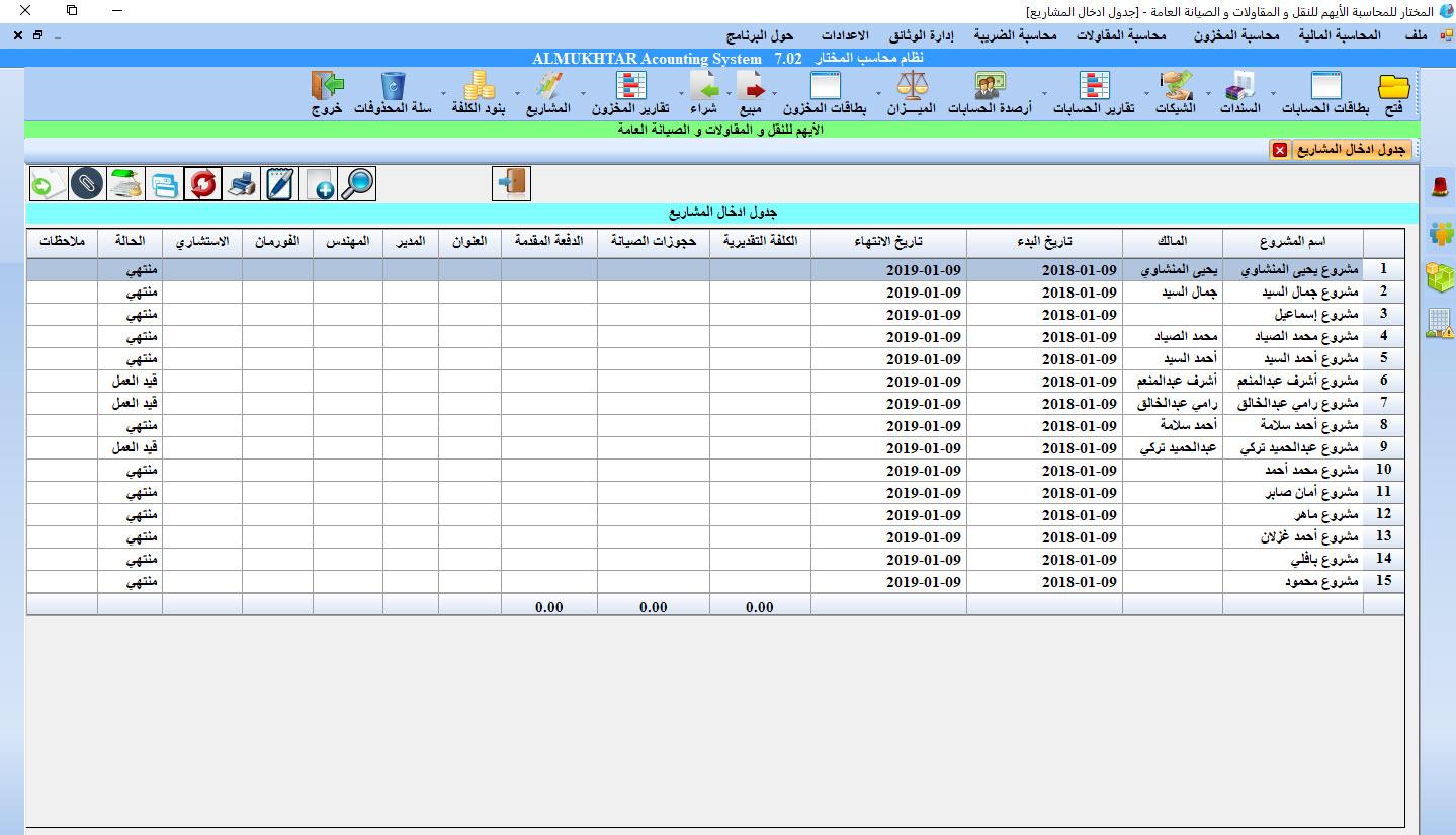جدول المشاريع - محاسبة المقاولات